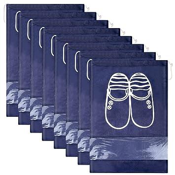 12 Piezas Bolsas de Zapatos,Multifunción a Prueba de Polvo para Viajes, Bolsa Impermeable Telas no Tejidas con Ventana Transparente