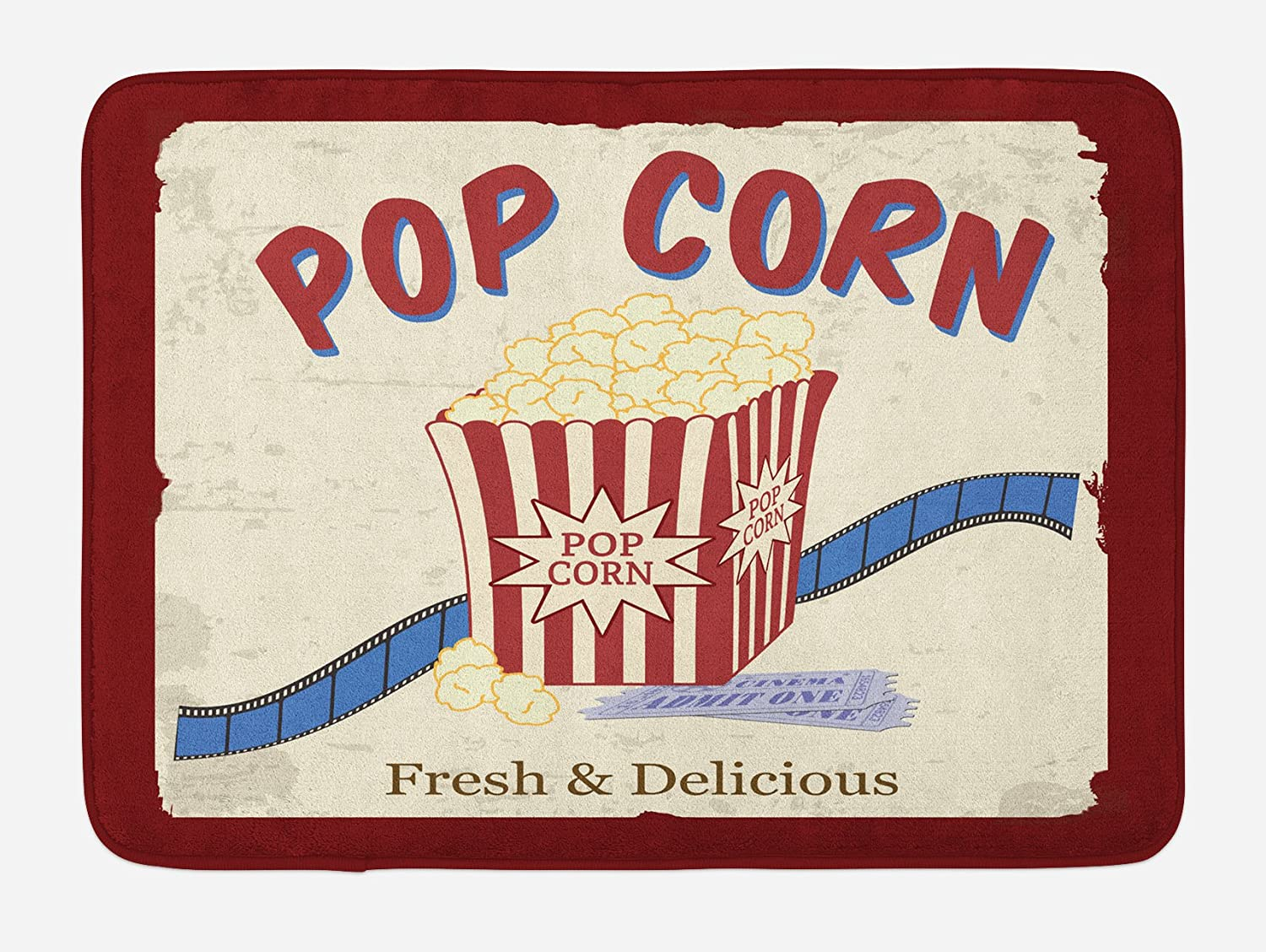 Ambesonne Movie Theater Bath Mat, Fresh and Delicious Pop Corn Film Tickets and Strip Advertising in 60s Theme, Plush Bathroom Decor Mat with Non Slip Backing, 29.5