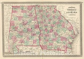 Map Of Georgia Alabama.Amazon Com Historic Map Johnson S Georgia And Alabama Published