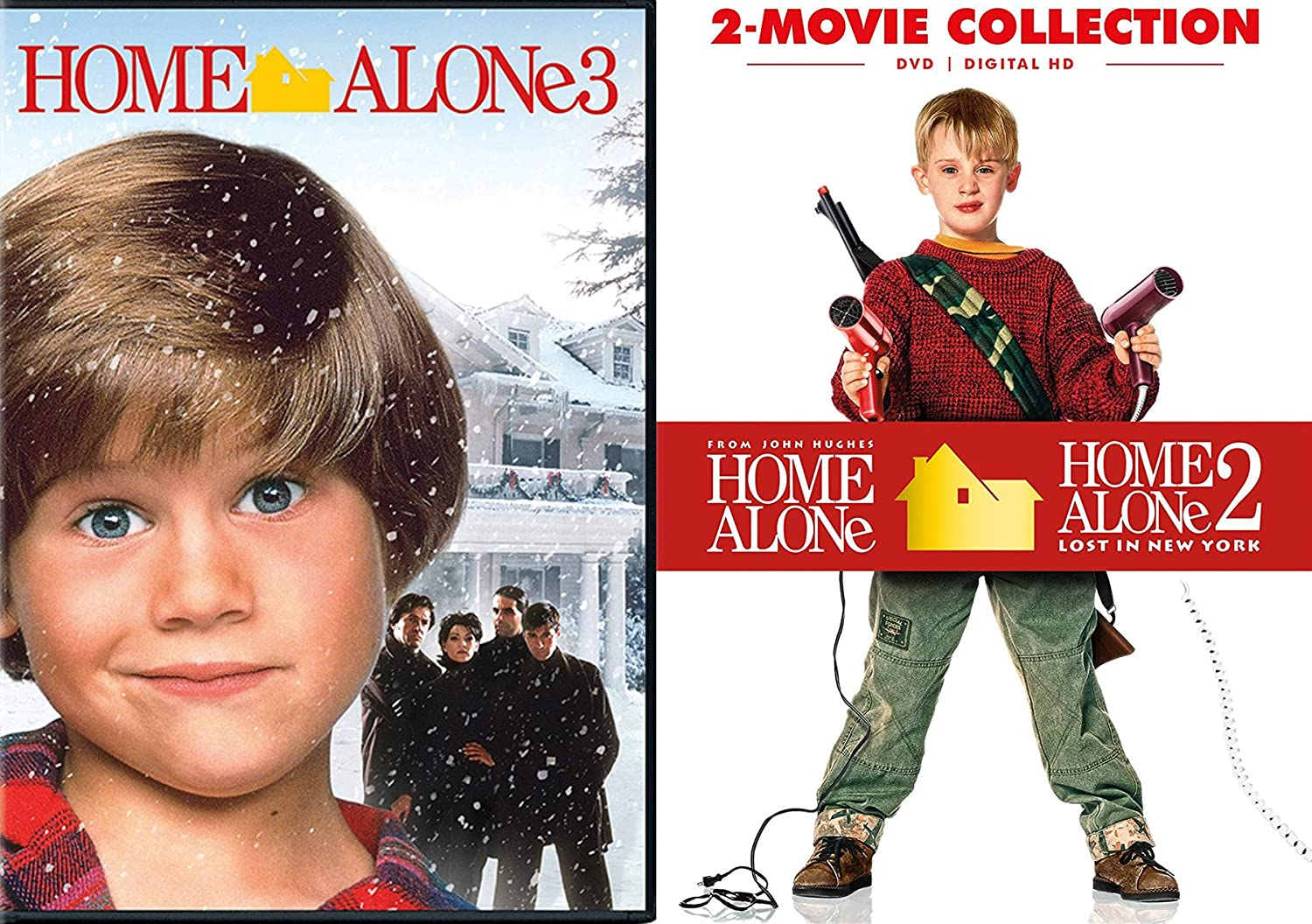 Home Alone 1 & 2 Box + Home Alone 3 Collection Triple Movie DVD Bundle Lost in New York Holiday Set