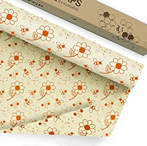 Beeswax Wraps 39x14 Inch Reusable Food Wrap Roll Echo Friendly Sustainable Cheese and Sandwich Wrappers Zero Waste, Alternative to Cling Film & Plastic Wrap (Beesflower)