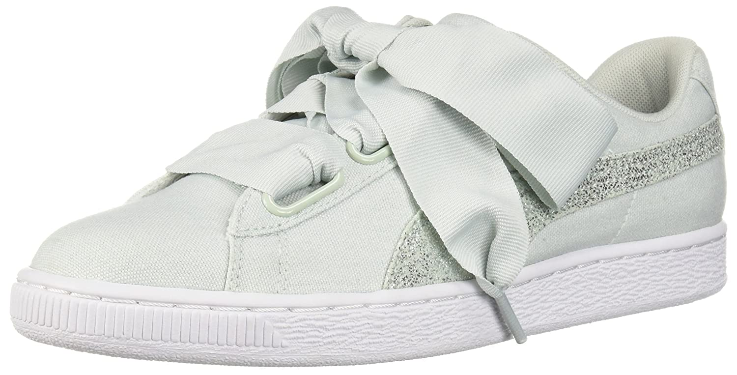 PUMA Women's Basket Heart Canvas Wn Sneaker B075297FFF 6 B(M) US|Blue Flower-puma White-puma Silver
