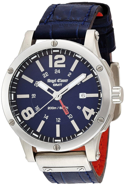 エンジェルクローバー腕時計日付AixベンチャーブラックダイヤルGMT Function evg46snv-nvメンズ B01LPHA6RS