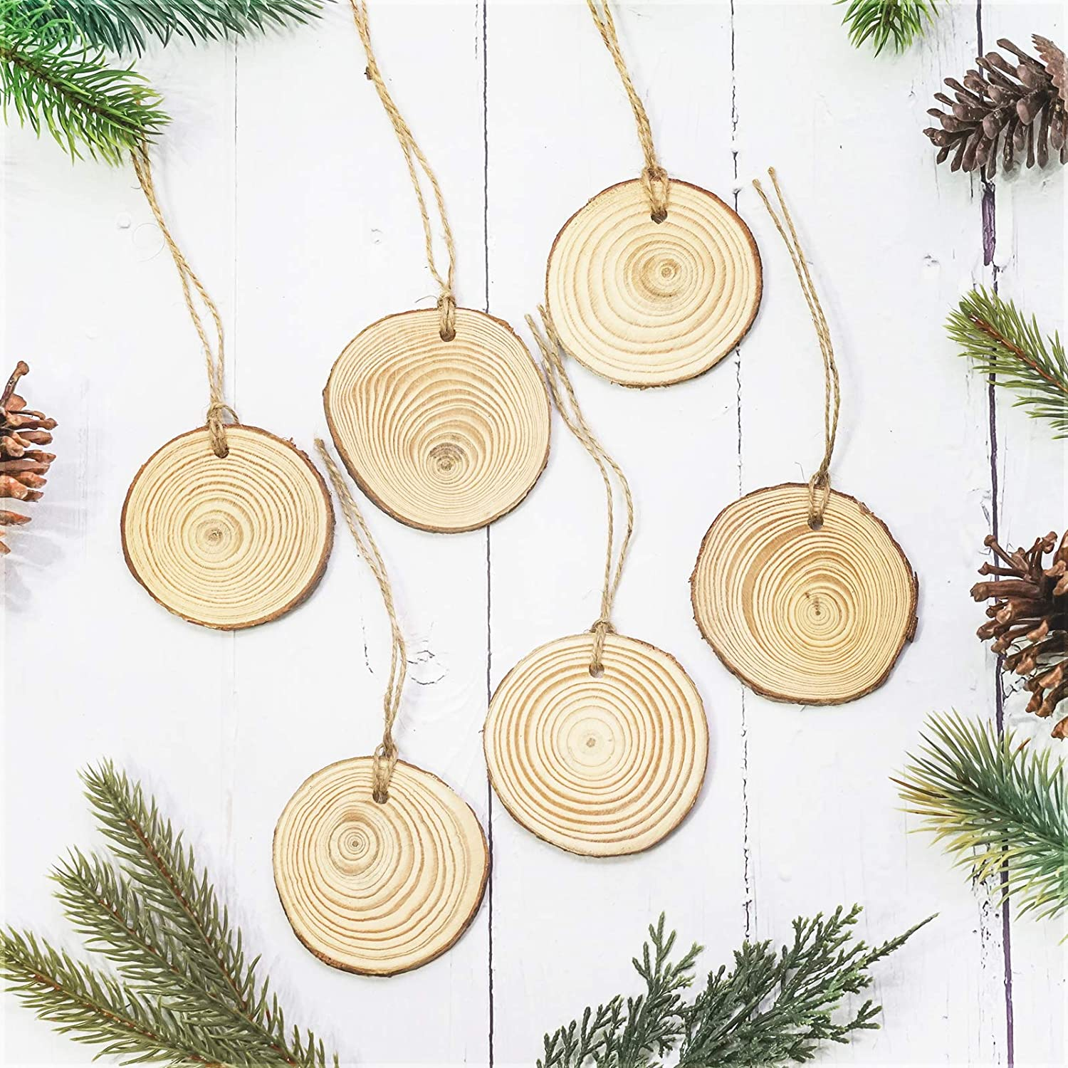 Unfinished Pre-Drilled Wooden Circles with Rope Natural Wood Slices 30-Piece 2.4-2.8 Inches Craft Wood Great for Arts and Crafts DIY Christmas Ornaments