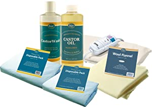Baar Castor Oil Packs Kit: Heating Pad with Auto Shut Off; Cold Pressed, Cold Processed, Hexane Free, Palma Christi Castor Oil; Reusable, Unbleached Wool Flannel Cloth; & Disposable Castor Oil Packs