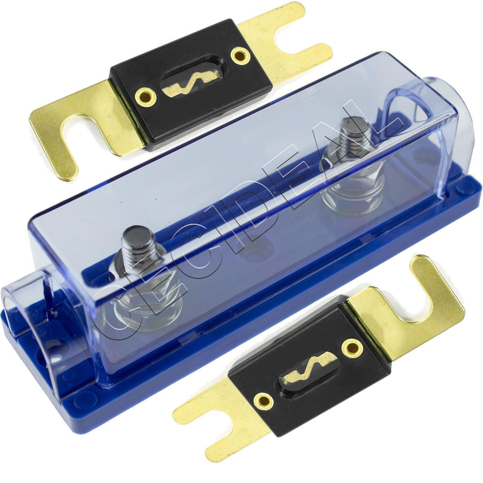 1/0/4/8 Gauge ANL Fuse Holder + 2 Pack Gold 250 Amp 250A Fuse USA
