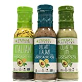 Primal Kitchen Dressing & Marinade, Made w/ Avocado Oil (Dreamy Italian, Italian Vinaigrette,Cilantro Lime) Paleo, Soy…
