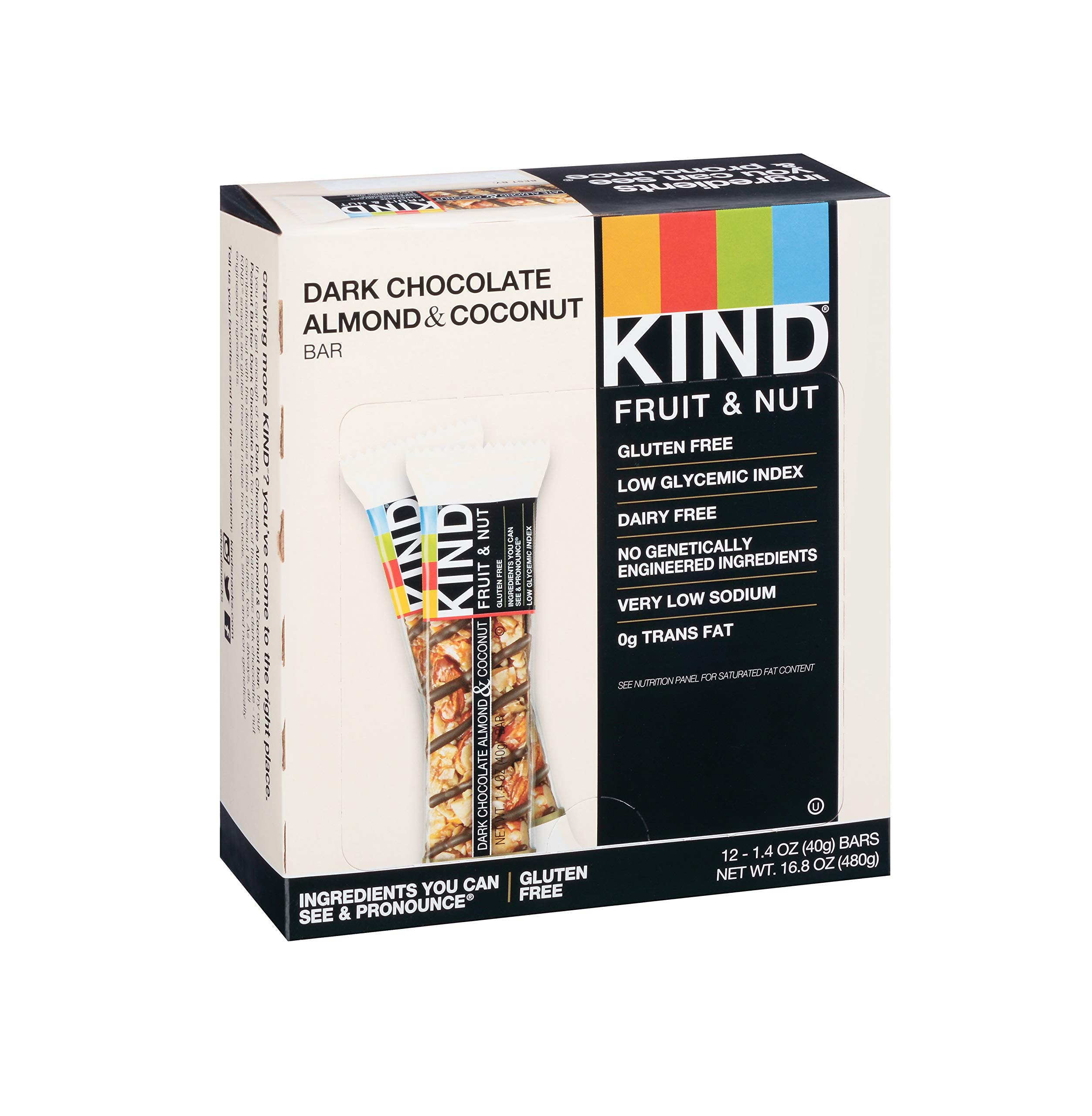 KIND Bars, Dark Chocolate Almond & Coconut , Gluten Free, Low Sugar, 48 Count by KIND