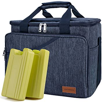 08011df438f Cooler Bag 40-Can Large Insulated Soft Sided Cooler Bag with 2 Ice Packs  Leak-Proof for Outdoor Travel Hiking Beach Picnic Camping Fishing (Blue)