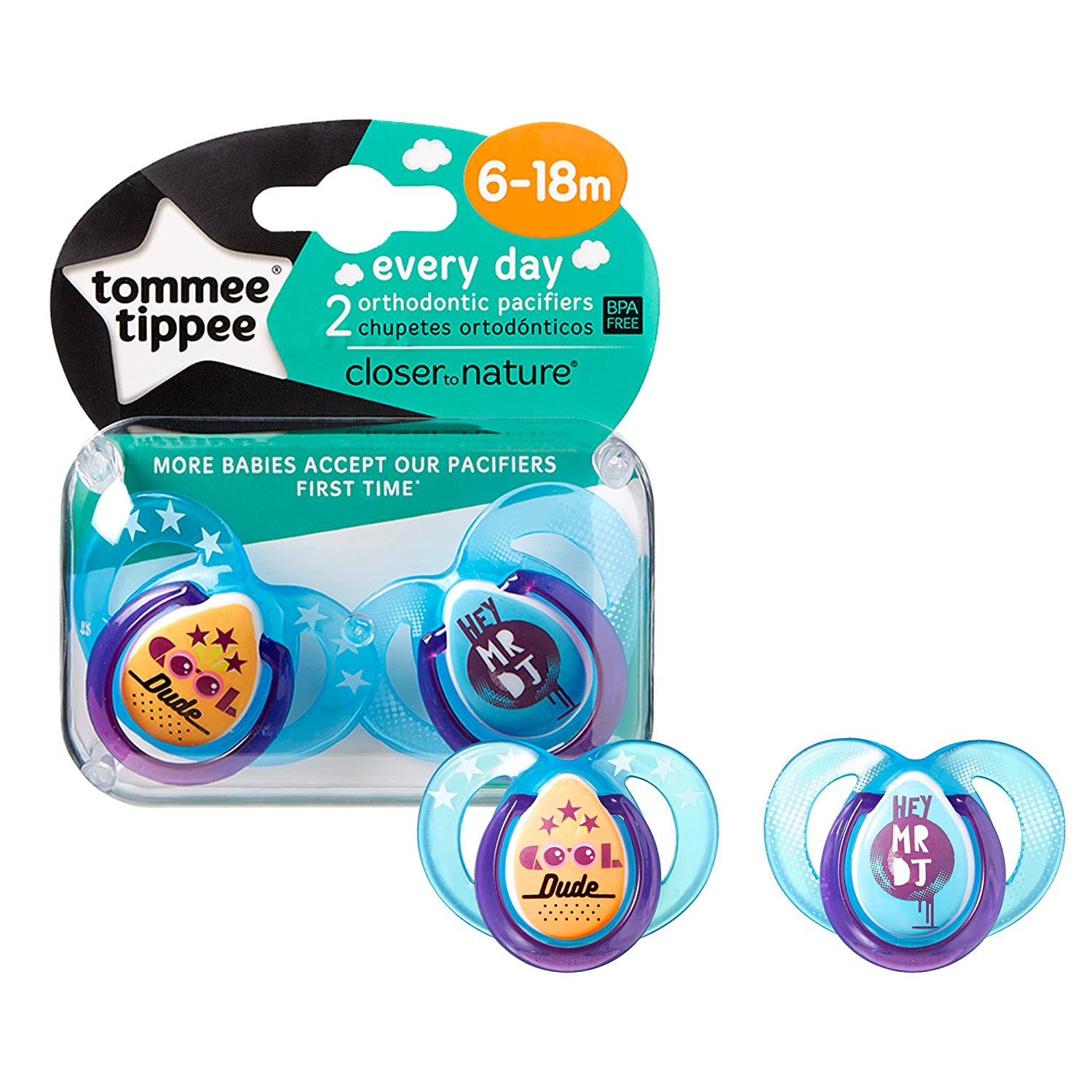 Tommee Tippee Closer to Nature Everyday Pacifier, Blue, 6-18 Months, 2 Count -Colors Will Vary