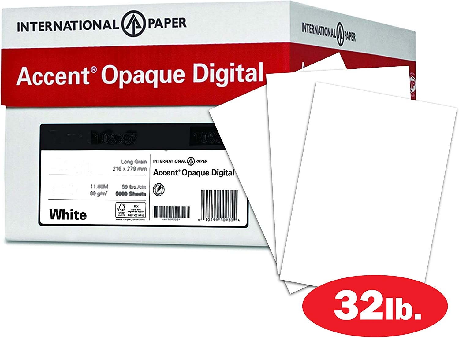 Accent Opaque Printer Paper, White Paper, 32lb Copy Paper, 13x19 Paper, 5 Reams / 1,500 Sheets - Super Smooth Finish (189035C)