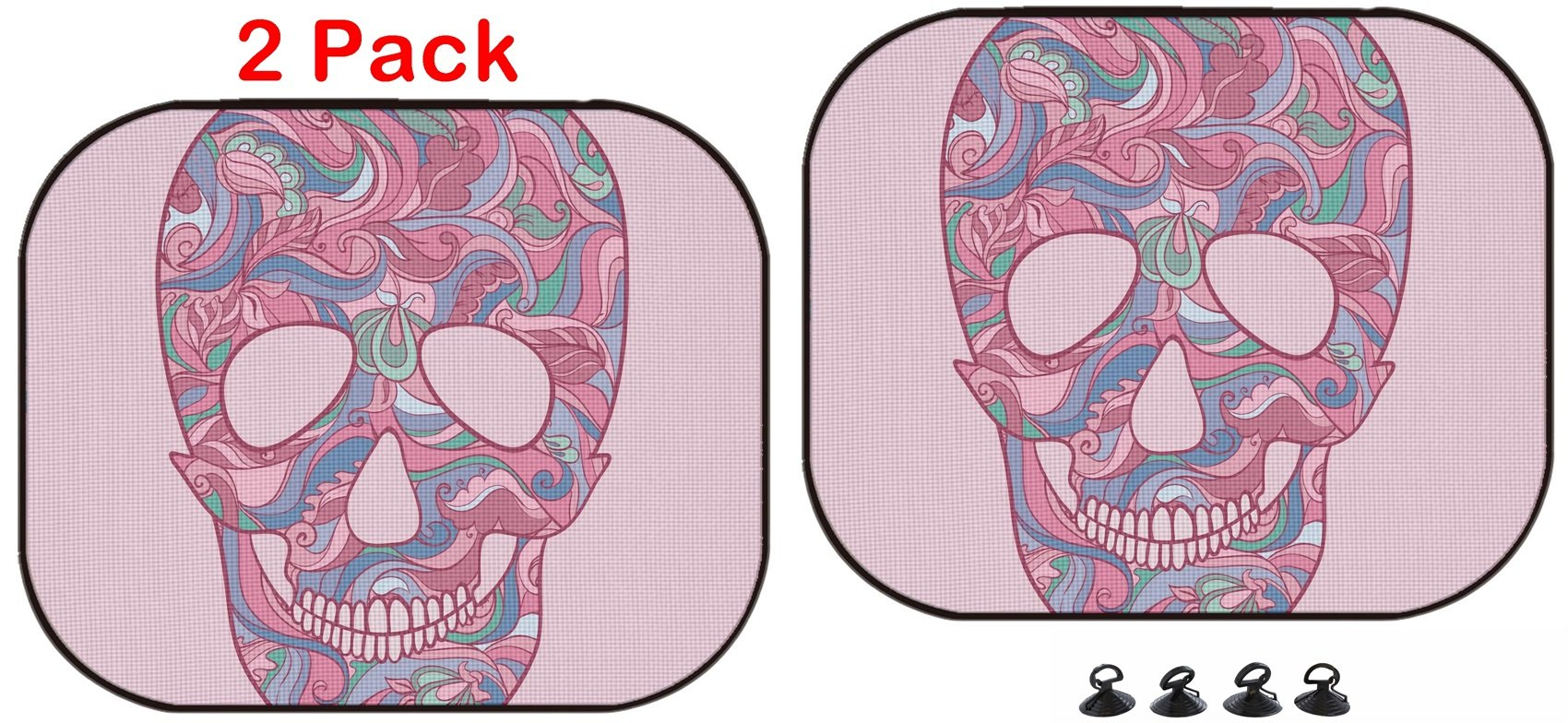 Luxlady Car Sun Shade Protector Block Damaging UV Rays Sunlight Heat for All Vehicles, 2 Pack Image ID: 32407211 Sugar Skull with Ornament by Luxlady