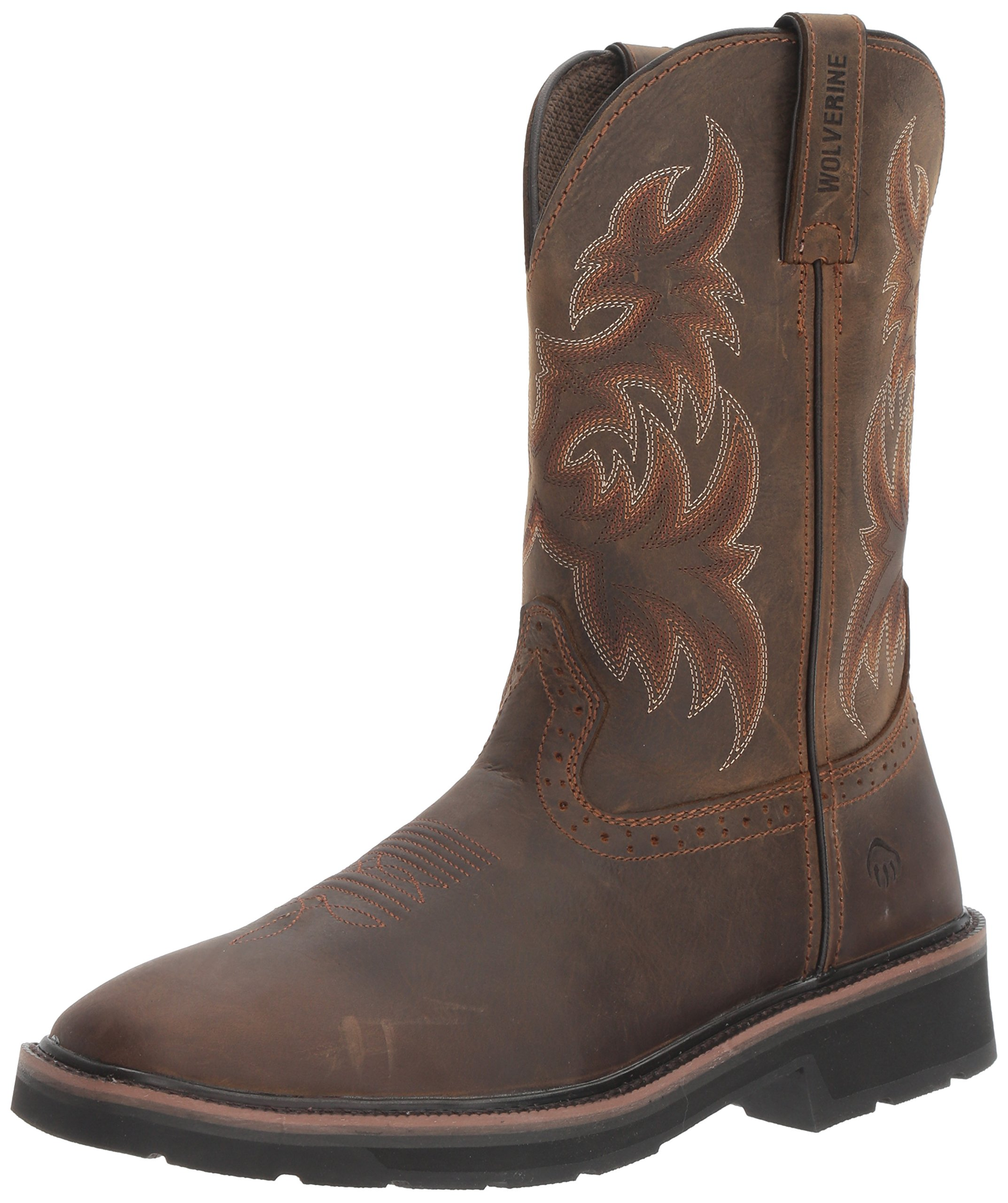 Wolverine Men's Rancher 10'' Square Soft Toe Work Boot, Dark Brown/Rust, 12 M US