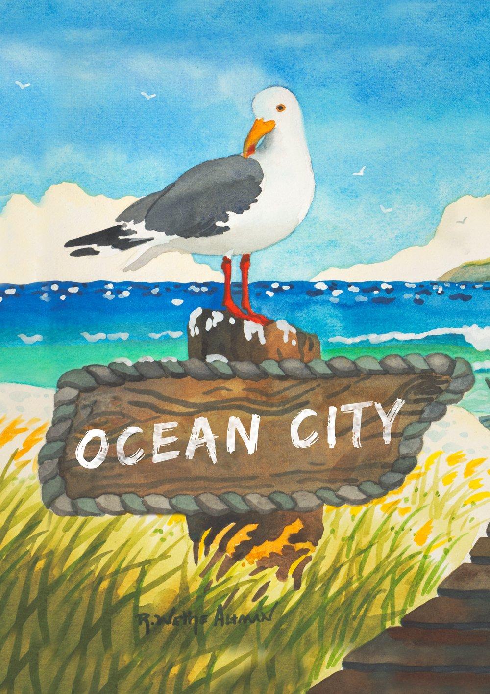 Toland Home Garden Beach Bird Ocean City 12.5 x 18 Inch Decorative Maryland Garden Flag
