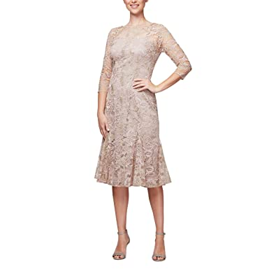 1ee982d2ed8 Alex Evenings Women s Midi Length Embroidered Party Dress at Amazon Women s  Clothing store