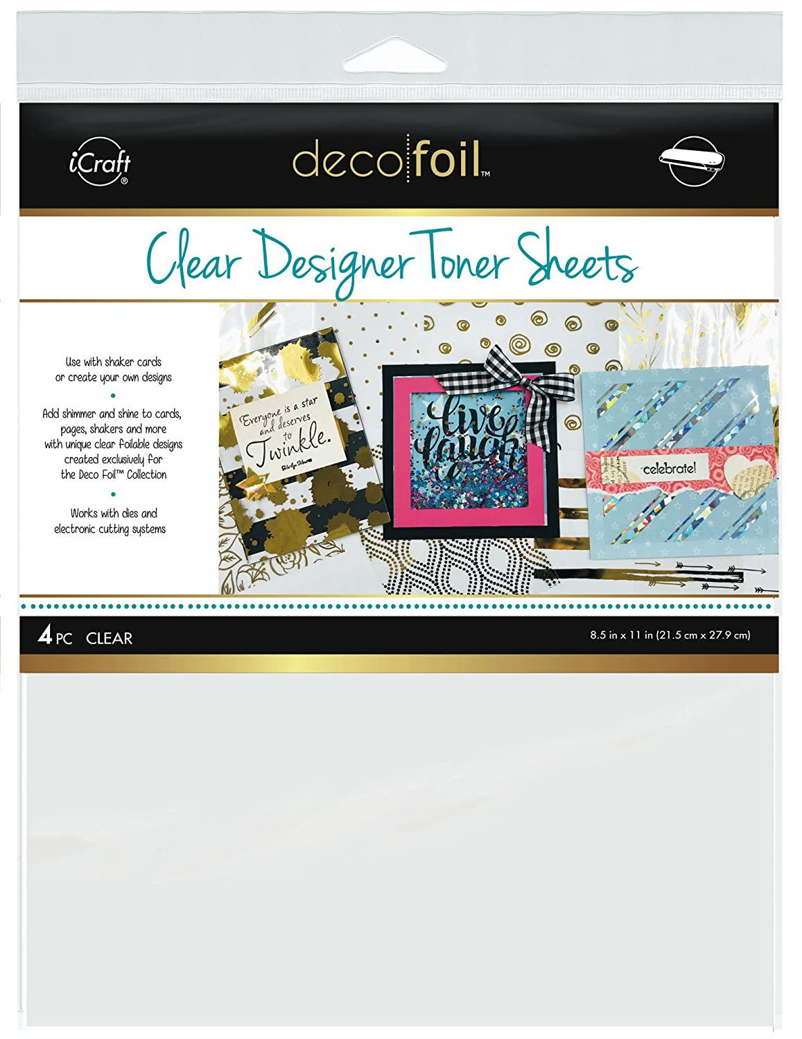 iCraft Deco Foil Clear Designer Toner Sheets 8.5 x 11, 4 Sheets per Pack, Clear Therm O Web Inc. DFTS-5511