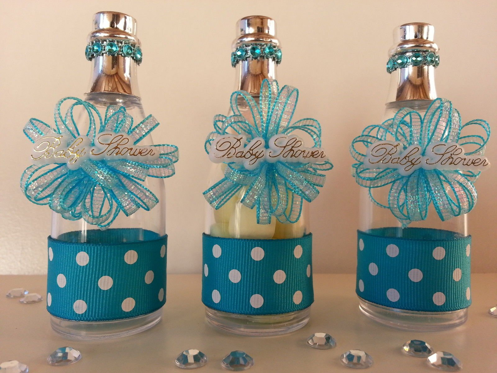12 Blue Fillable Champagne Bottles Baby Shower Favors Prizes It's a Boy Game