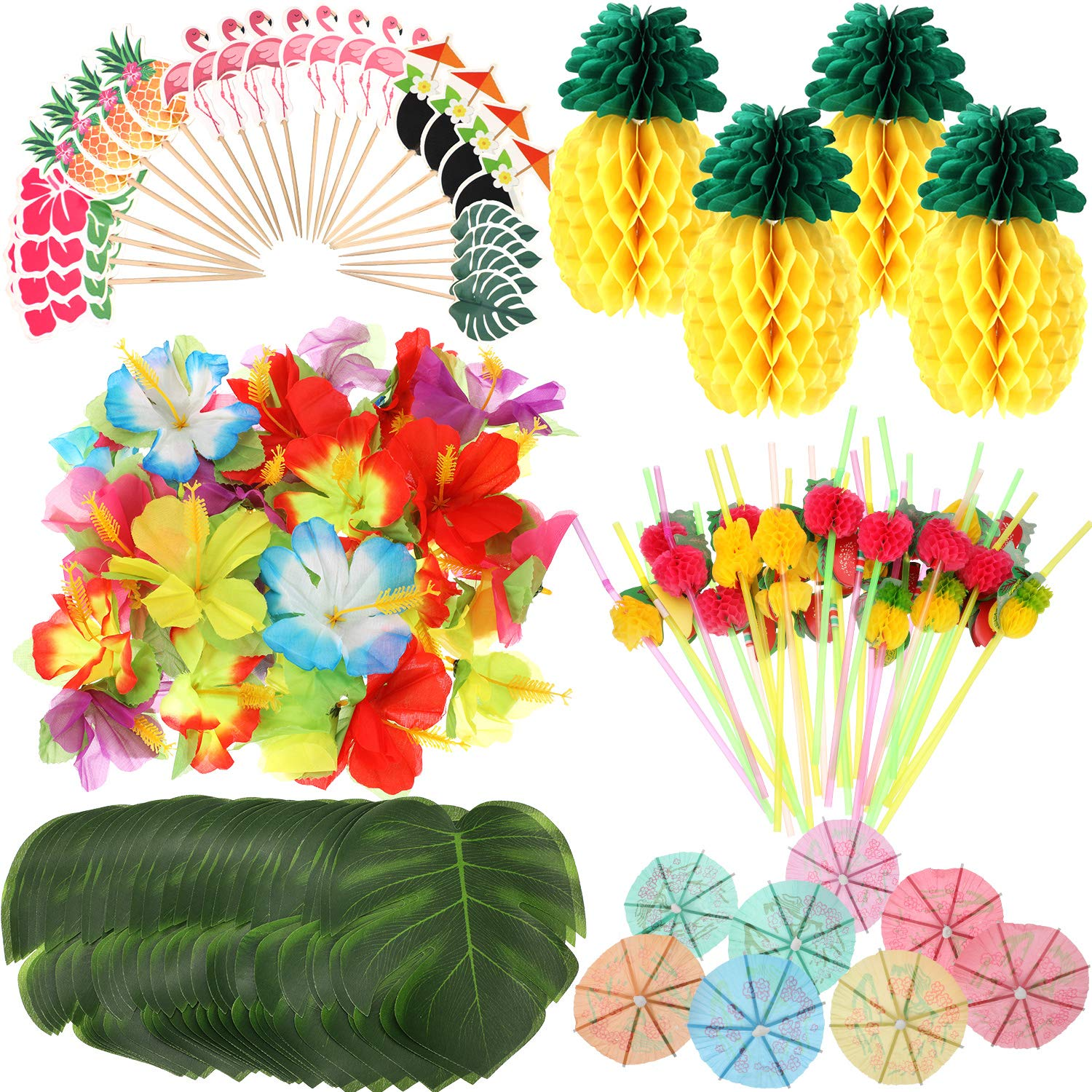 188 Pieces Hawaiian Luau Party Decorations,Include 30 Pieces Tropical Palm Leaves, 30 Pieces Hibiscus Flowers, 4 Pieces Paper Pineapples, 24 Pieces Cupcake Toppers, 50 Pieces 3D Fruit Straws, 50 Pieces Paper Umbrella by Zonon (Image #1)