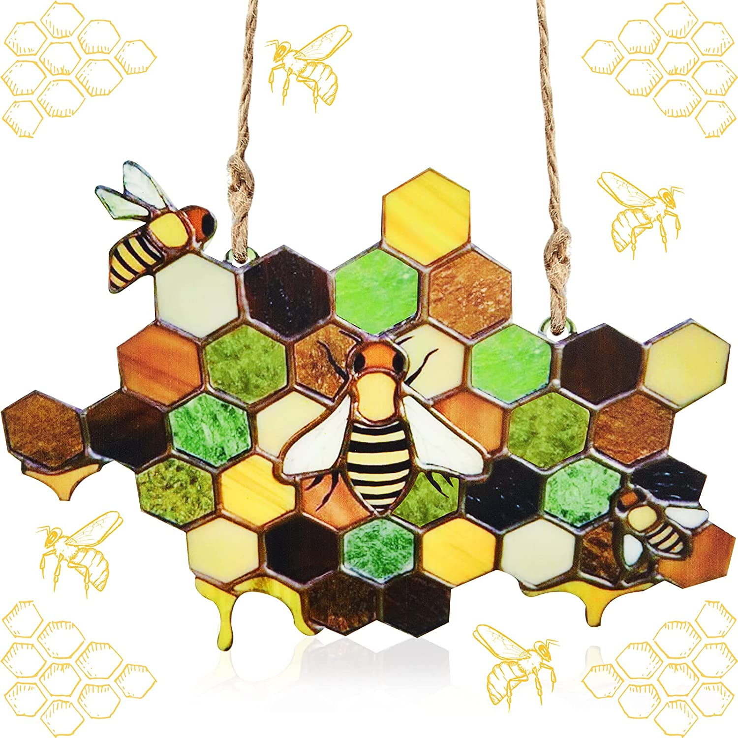 Queen And Bee Protect Honey Suncatcher Bee Honeycomb Suncatcher Stained Acrylic Bee Suncatchers Bee Decor Hanging Ornaments Pendant Handmade Home Decoration for Farmhouse Yard Garden Window Wall Decor