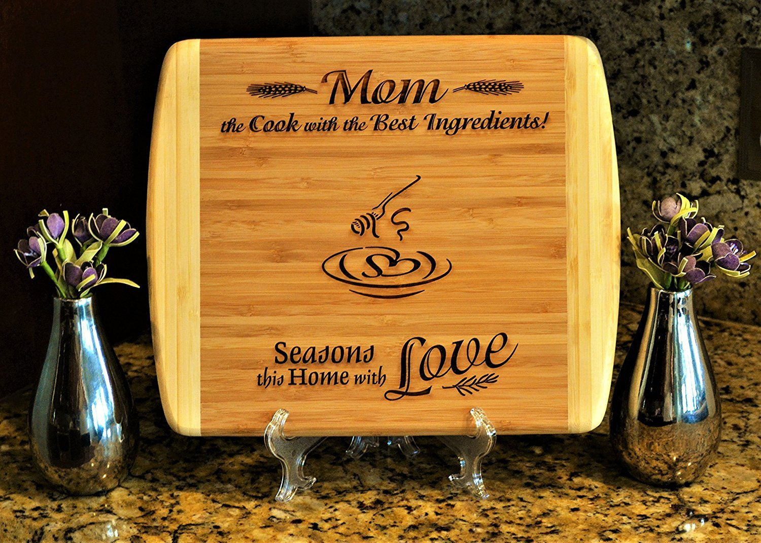 GIFT FOR MOM Personalized Medium Maple Cutting Board w/ Free Stand 2-Sided Design Engraved Side Designed For Decor Reverse Side For Usage W Juice Groove Mother Birthday Gift Christmas Gift