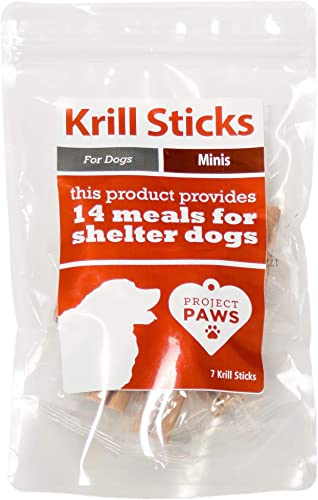 Project Paws Krill Sticks – Krill Oil for Dogs – Omega 3 for Dogs for Skin and Coat and Relief from Allergies and Itching Skin – Phospholipid Bound Omegas with Astaxanthin
