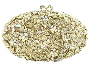 Boda Bolso Mujer Noche Bolsas Fiesta Carteras Brillo Mano Diamantes Cadena Embrague Flores Dorado: Amazon.es: Equipaje