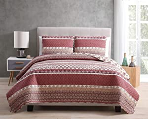 Morgan Home Printed 3 Piece Reversible Quilt Set with Shams – All Season Comfort, Available in, Colors & Sizes (Burgundy, Full / Queen)