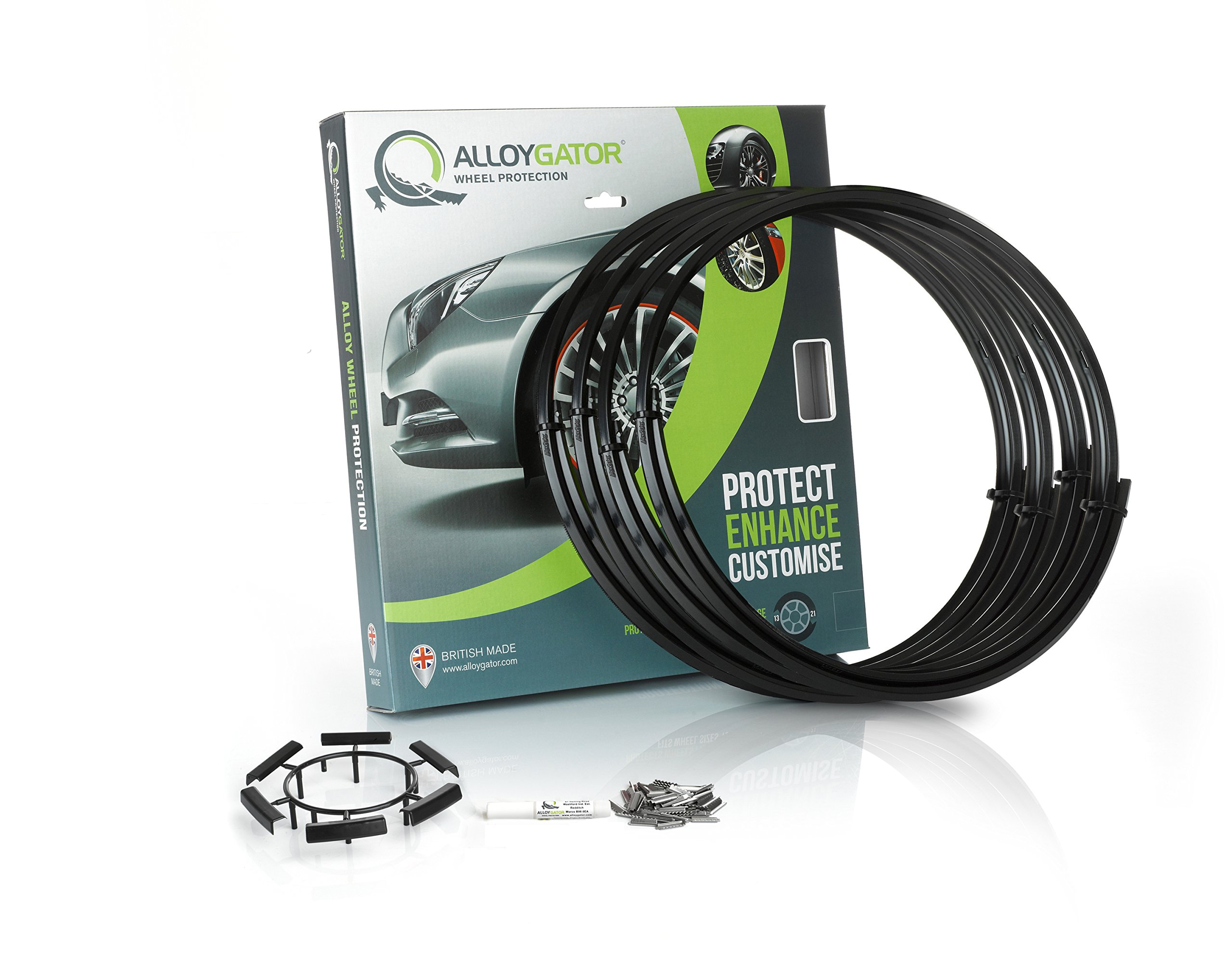 Alloygator Alloy Wheel Protection (MADE IN BRITAIN) Rim Protector Complete Set of 4 BLACK COLOR Excellent Fitment (FITS 13'' to 21'' OEM Factory Rims & Aftermarket Wheels)