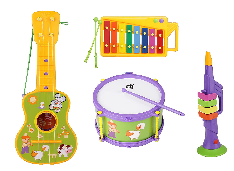 REIG Rhythmusset für Kinder 4 Instrumente Trompete Trommel Xylophon Gitarre REIGSET2