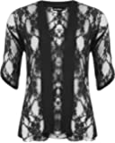 WearAll Ladies Lace Open Cardigan Womens Top Plus Sizes 12-26