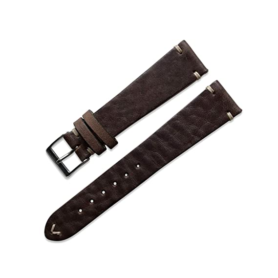 873170887 Swiss Time Watches 20mm Handmade Dark Brown Vintage Distressed Genuine Leather  Watch Strap Band: Amazon.co.uk: Watches
