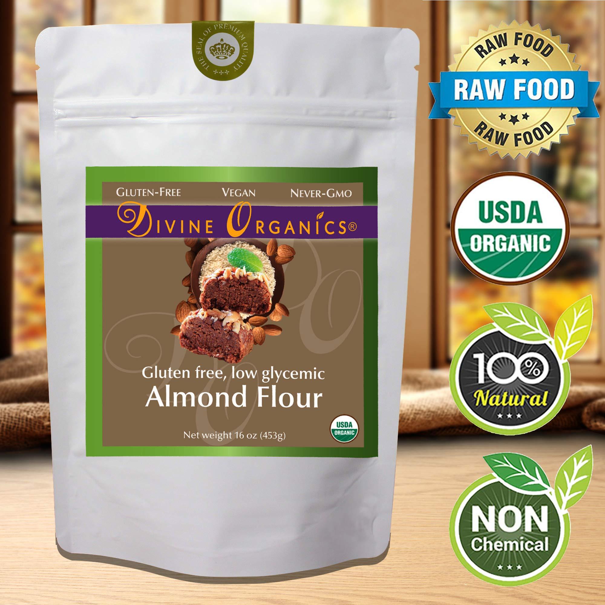 16 oz Organic Almond Flour Powdered Gluten Free Low Glycemic Non-GMO by Divine Organics