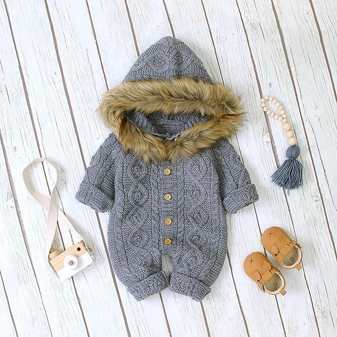 Haokaini Neugeborenes Baby Ohr Kapuze Gestrickte Strampler Overall Winter w/ärmer Schneeanzug f/ür Jungen M/ädchen