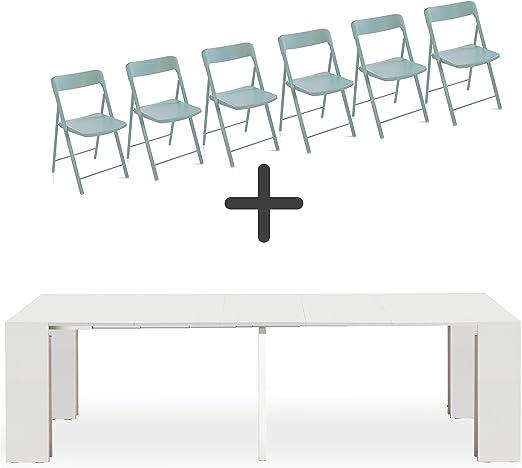 ARREDinITALY Set 6 sillas Plegables + Consola Extensible Party ...