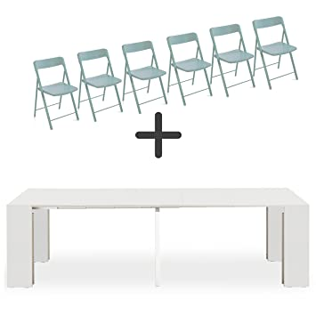 ARREDinITALY Set 6 sillas Plegables + Consola Extensible ...