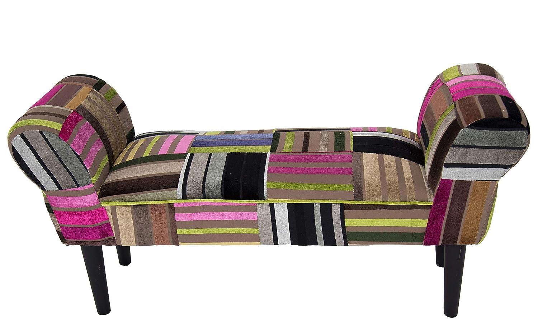 """Deko Sitz-Bank Design""""Sienna"""", Motiv Patchwork, Bezug aus Samt bunt rot gepolstert, dunkle Holzfüße, mit Armlehne, für Flur und Diele, B102 x H51 x T31 cm"""