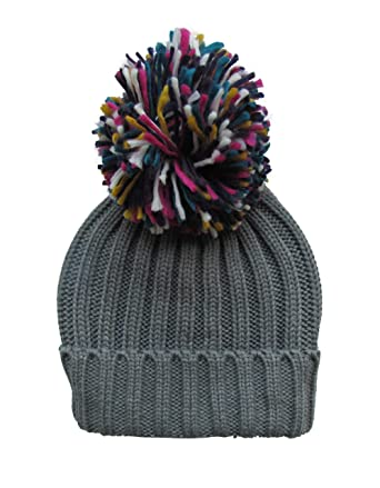 497e567aa46 Womens Warm Woolly Knitted Beanie Bobble Hat with Big Rainbow Pom Pom -  Grey (One Size)  Amazon.co.uk  Clothing