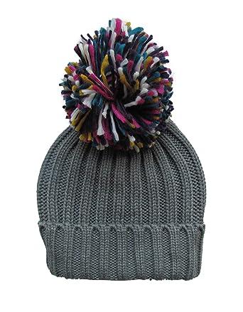 1fe41080a6f Womens Warm Woolly Knitted Beanie Bobble Hat with Big Rainbow Pom Pom -  Grey (One Size)  Amazon.co.uk  Clothing