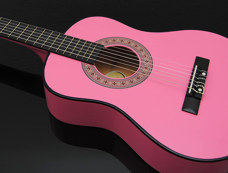 Ts-Ideen 5251 Kindergitarre 1//4 Akustik Gitarre f/ür circa 4-7 Jahre mit Tasche und Gurt//Saiten//Plek pink//rosa