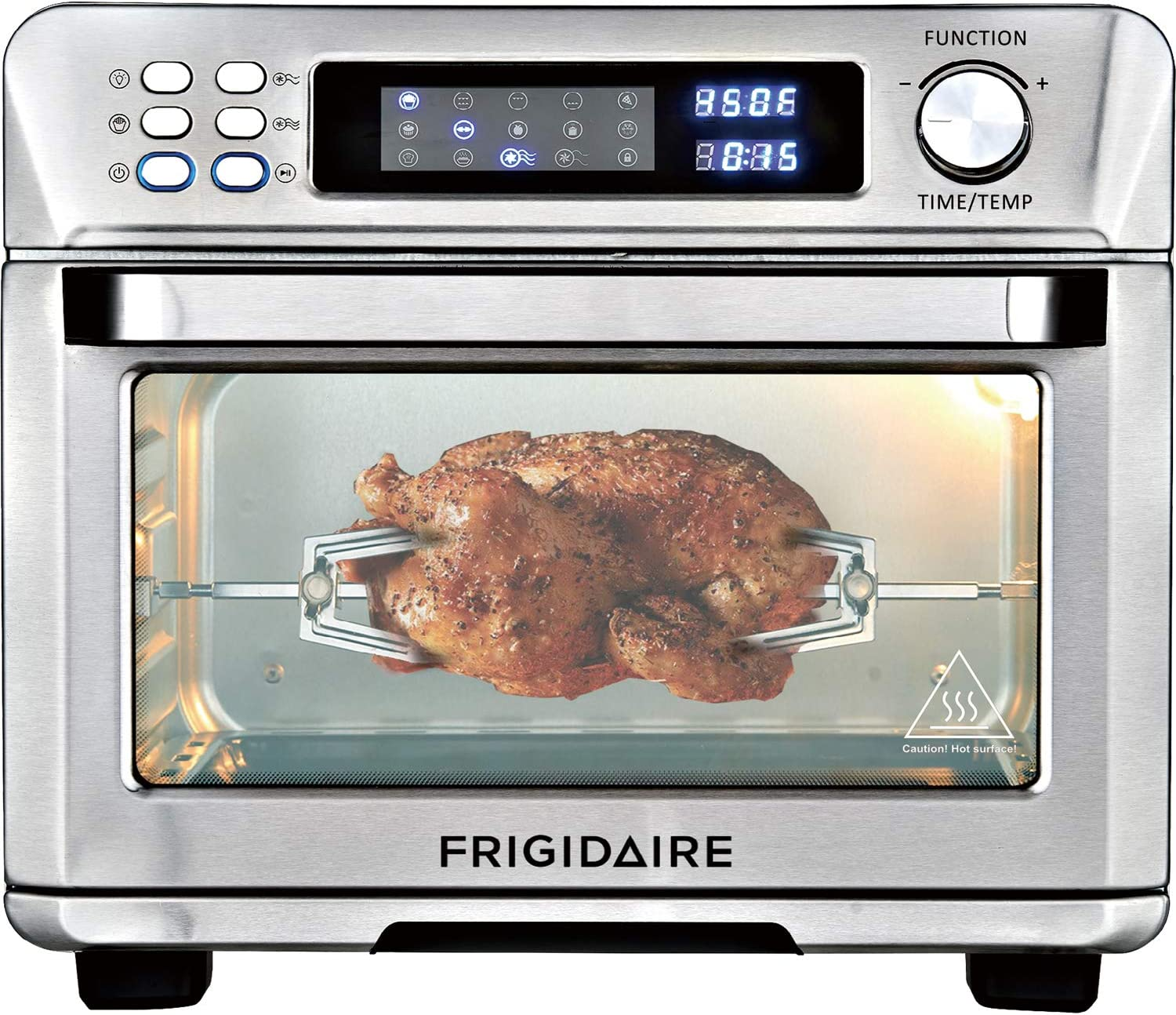 Frigidaire Digital Air Fryer Toaster Oven 27 Quart (25L) Stainless Steel EAFO111-SS With Interior Light, Rotisserie Set and 11 Programs for Airfrying, Convection, Pizza, Dehydrate, Slow Cook and More