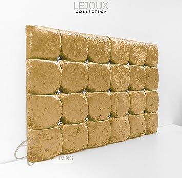 LejouxTM Cabecero de cama, terciopelo arrugado, para cama individual, doble y king , dorado, 4ft6 (Double) 30 Inches High: Amazon.es: Hogar