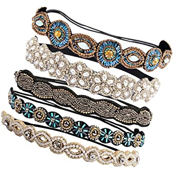 133197de735 Amazon.com   Ondder 5 Pieces Rhinestone Beads Elastic Headband Handmade  Crystal Beads Hairbands Hair Accessories For Women   Beauty