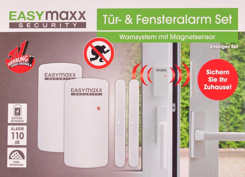easymaxx 02481 Security Alarmanlage für Türen und Fenster, Magnetsensor-Technik, 110db, kein Bohren nötig, kabellos, inklusive Fernbedienung, Weiß DS Produkte