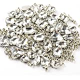 Sew on Rhinestones, 180pcs White Rhinestones Mix Shapes Sew on Glass Rhinestone Gems with Prongsfor Crafts, Clothes, Costume,