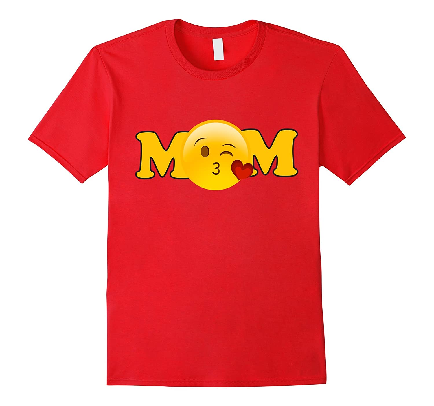 Emoji Mothers Day Shirt For Women Mom Heart Kiss Sayings-TD