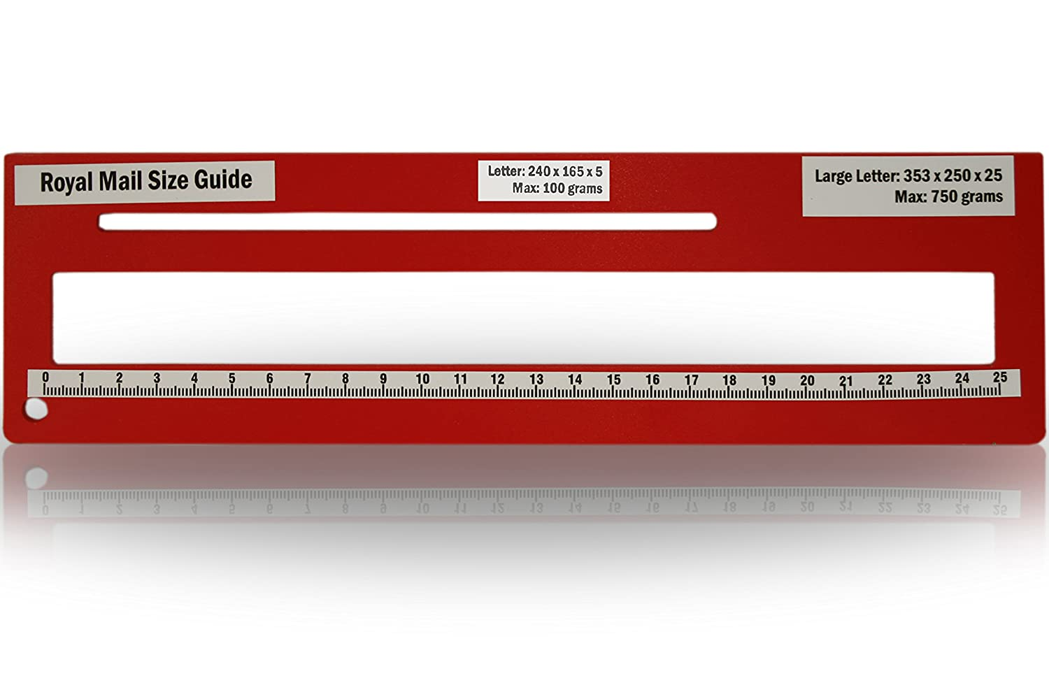 Royal Mail PPI Letter Size Guide Ruler Post Office Postal Price Postage in Green.