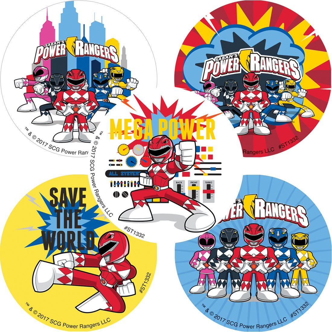 Smile Makers Power Rangers Stickers - Prizes and Giveaways - 100 per Pack