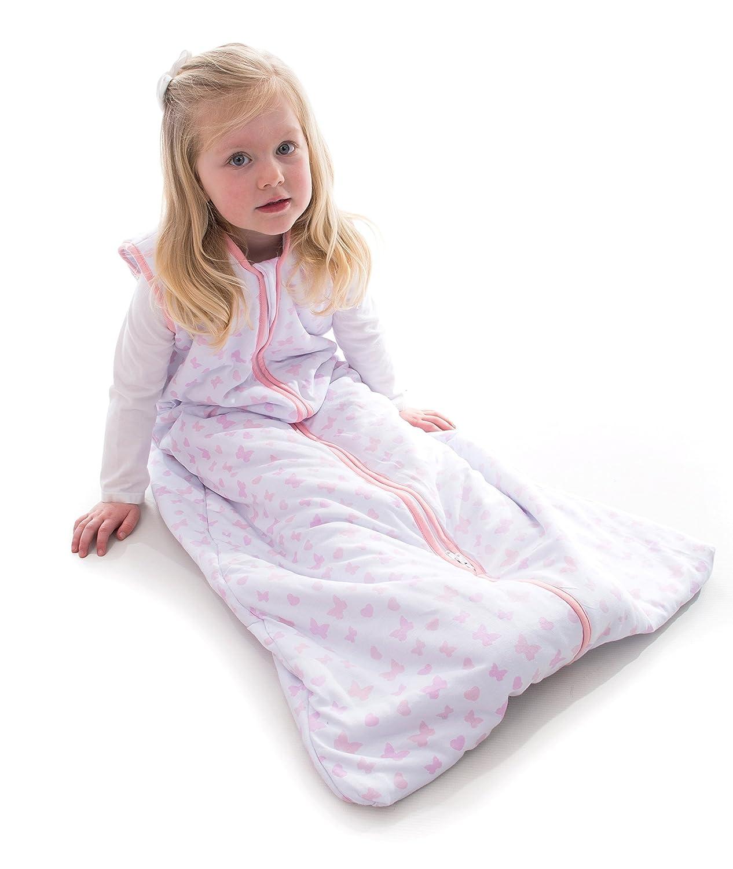 Snoozebag - Saco de Dormir Unisex 2.5 TOG bebé, 100% algodón, con Estampado Mariposas y Corazones de Talla: 0-6 Meses Babycurls SB-BH