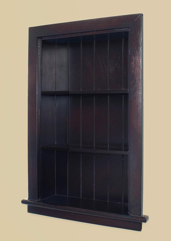 Fox Hollow Furnishings 14x24 Aiden Wall Niche (Dark Brown w/Beadboard Back)
