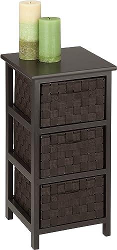 Honey-Can-Do 3-Drawer Natural Wood Frame Storage Organizer Chest, 12.01 by 24.80-Inch, Espresso Brown